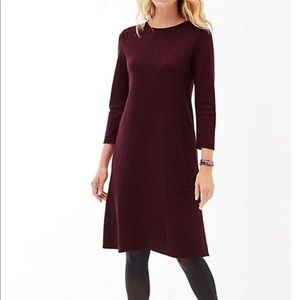 J Jill Ponte Knit Dress Burgundy Black size Large